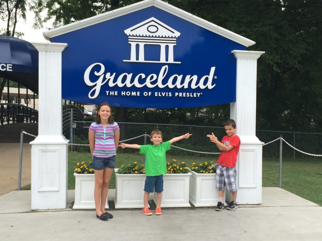 The carful of kids tour Graceland and learn about Elvis.