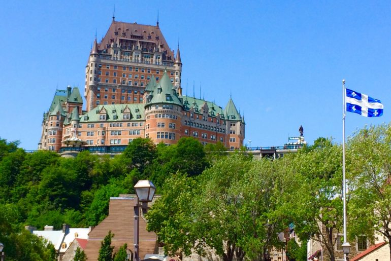 Chateau Frontenac. Walking tour of Old Quebec's Lower Town.