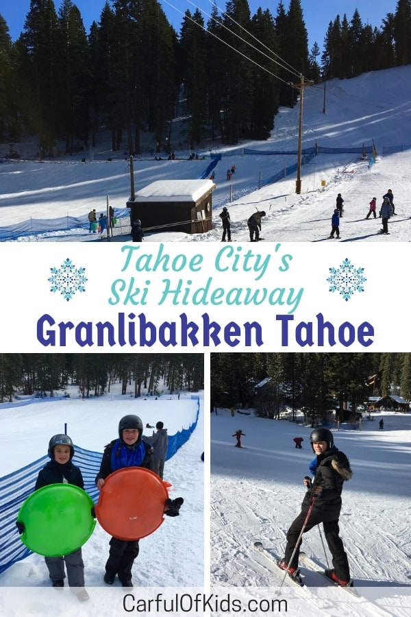 Granlibakken Tahoe Ski Resort offers a secluded location on the western shores of Lake Tahoe, minutes from Tahoe City. Find a fast sledding hill along with a couple of ski lifts, perfect for families since kids can ski or sled while parents watch on. Find out all the family ski details along with their affordable prices. #LakeTahoe #FamilySki