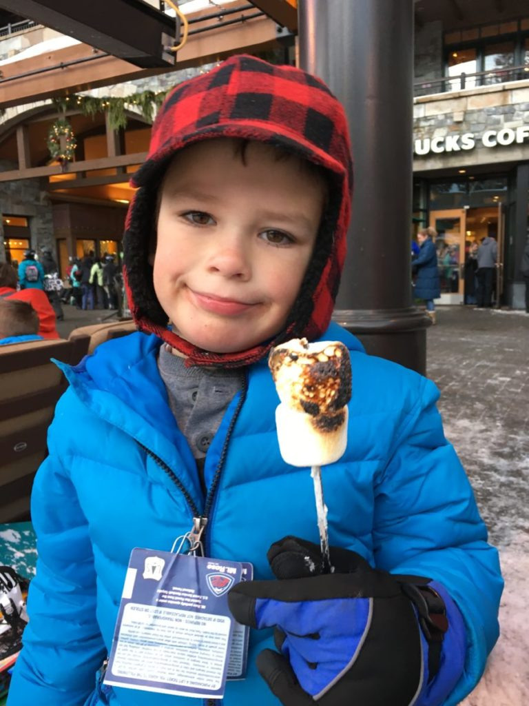 What to pack for a Family Ski Trip--marshmallows for the fire pits. Lake Tahoe, Family friendly ski destination.