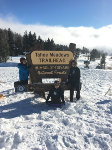 The Tahoe Meadows Trailhead is a great FREE place to sled with the kids in Lake Tahoe.