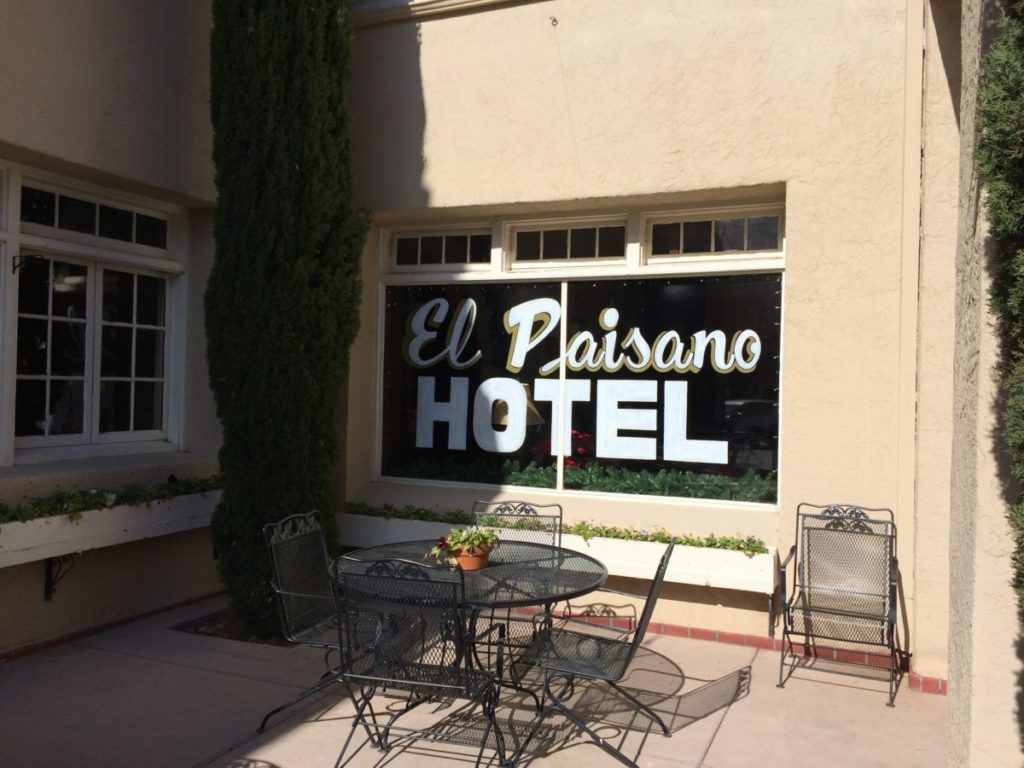 """El Paisano Hotel, where Elizabeth Taylor, James Dean and Rock Hudson stayed during the filming of """"The Giant"""". Paisano Hotel, Marfa, Texas,"""