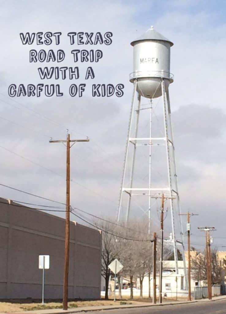 Carful of Kids on a West Texas Road trip, Marfa, Texas,