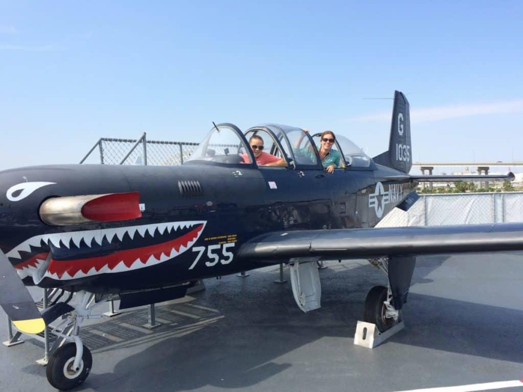 The carful of kids love all the aircraft that we can try on. Texas Beach Weekend, Corpus Christi, Texas, USS Lexington,