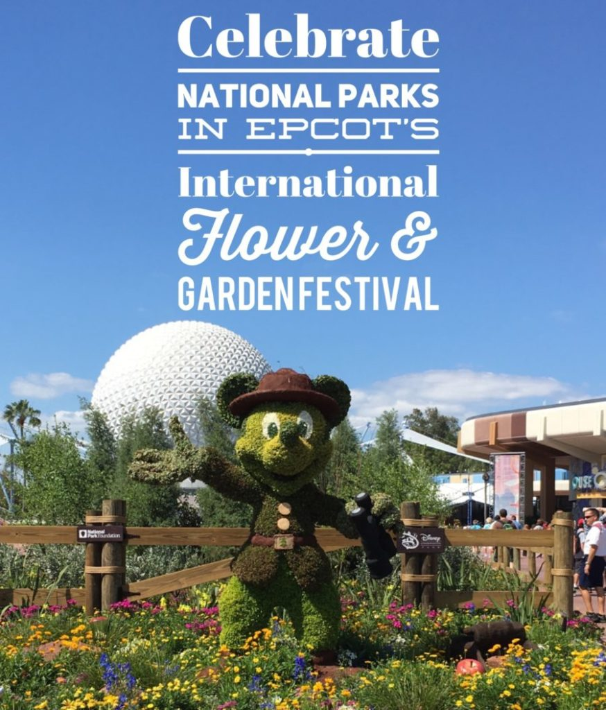Ranger Mickey celebrates the National Park Centennial at Epcot's International Flower and Garden Festival.