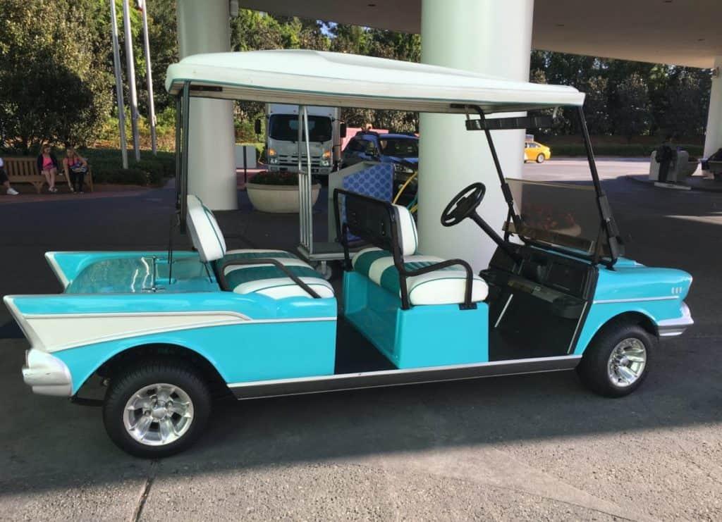 The fun golf carts at the Pop Century Resort in Walt Disney World, review of the Pop Century Resort,