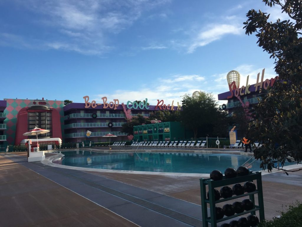 The bowling bin-shaped pool in the 1950s area is a hit with kids. Pop Century Resort Review, Walt Disney World,