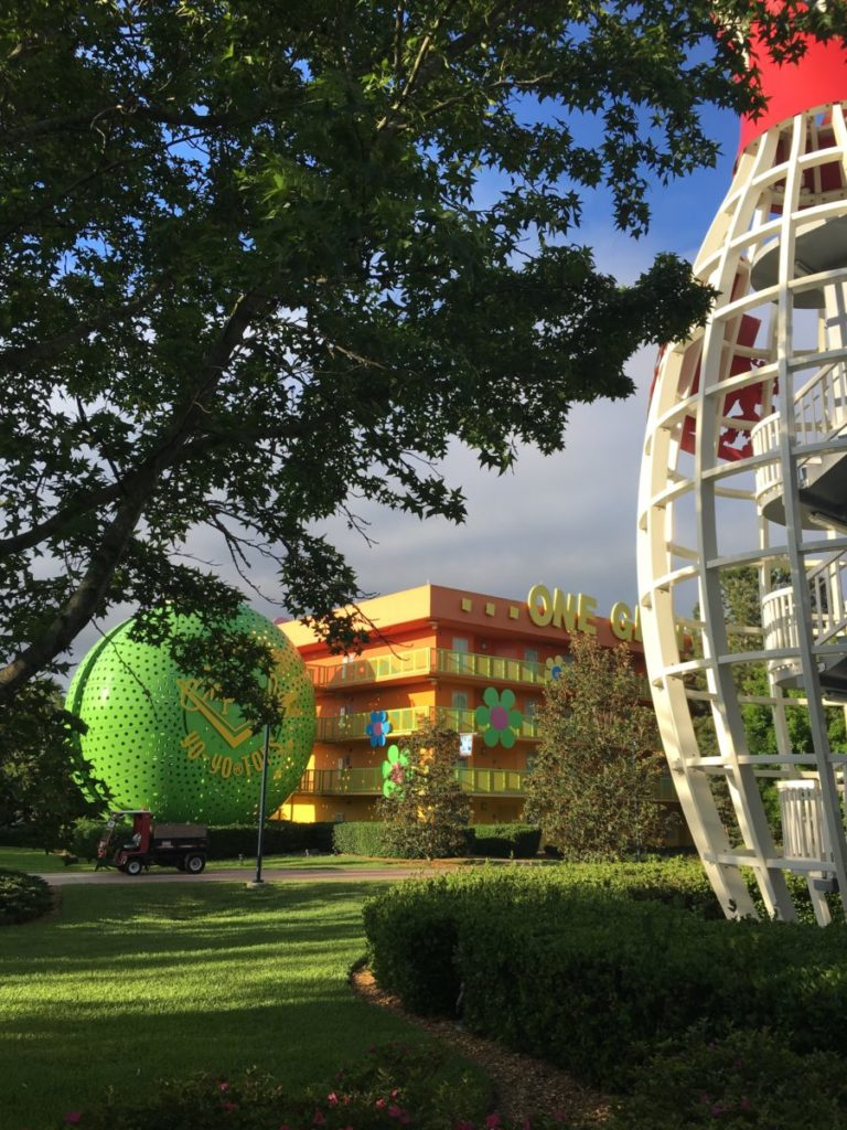 My kids loved the giant features of the Pop Century Resort. resort review of the Pop Century Resort,