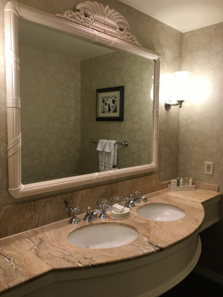 The bathroom vanity in The Grand Floridan Resort at Disney World