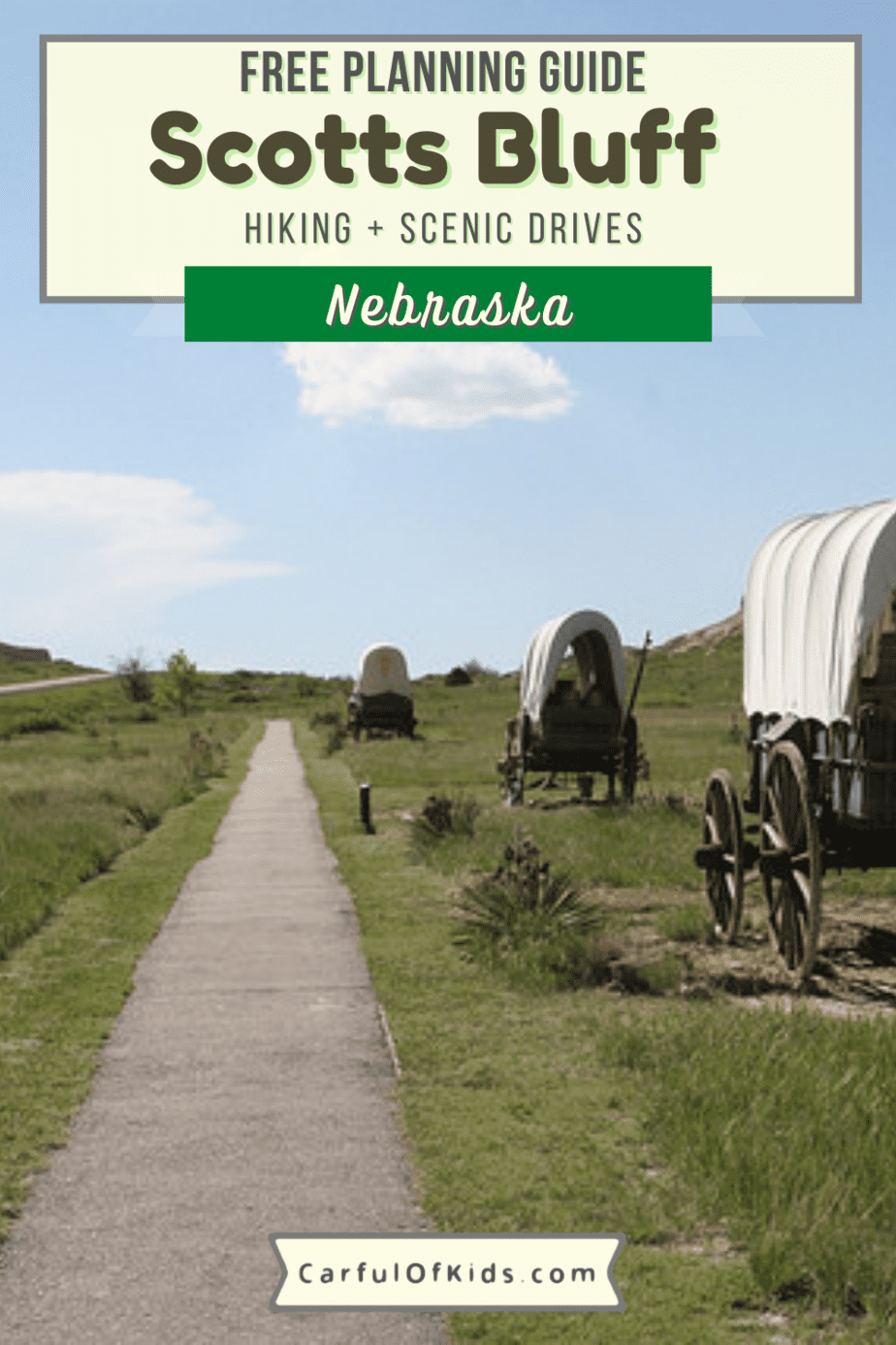 Learn how pioneers moved West in the 1800s on the Oregon Trail. Explore Scotts Bluff National Monument in Nebraska to see covered wagons and the ruts they left over 100 years ago. What to do in Nebraska   Road Trip Stops in Nebraska   National Parks in Nebraska #NationalParks #Nebraska