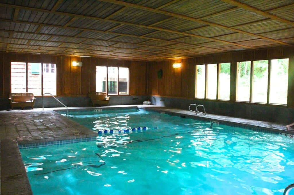 The pool at the Lake Quinault Lodge.