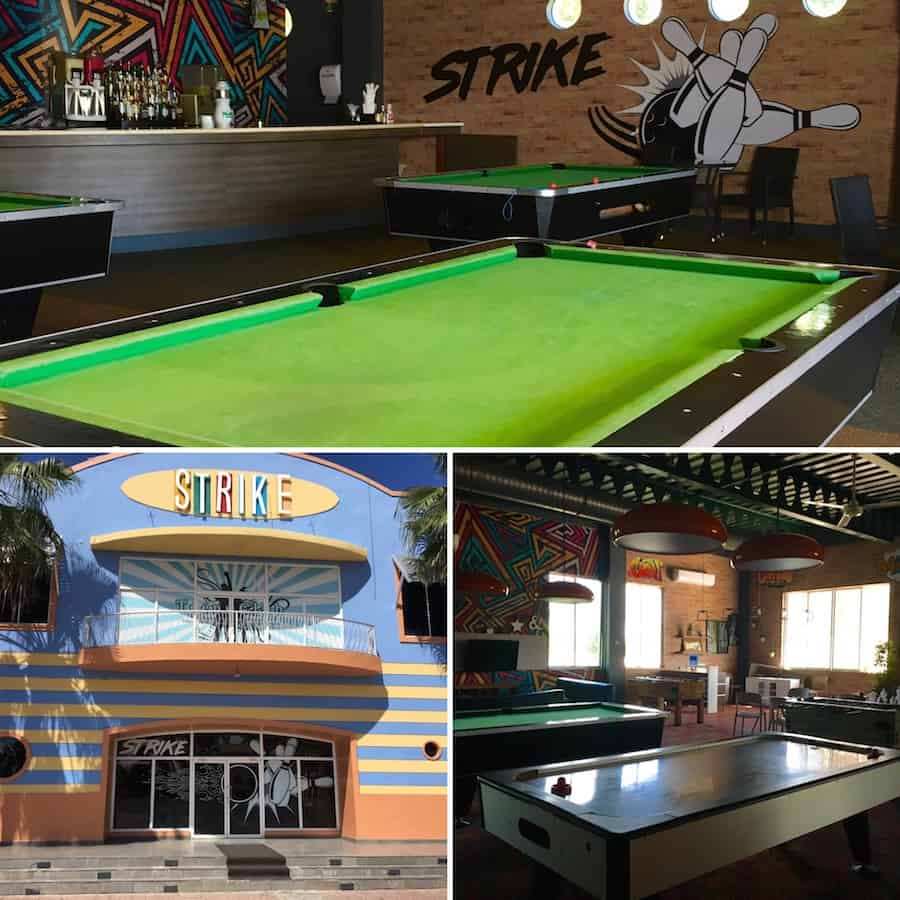 Enjoy the bowling alley or pool tables at Ocean Blue and Sand with kids.