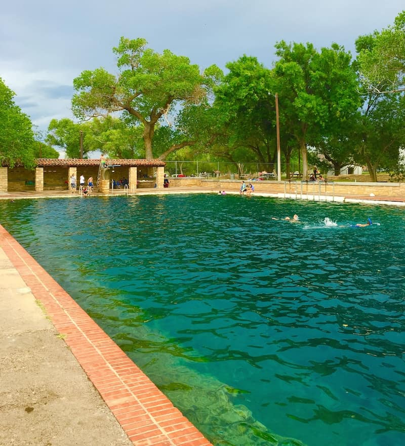 Balmorhea Pool with kids in West Texas.