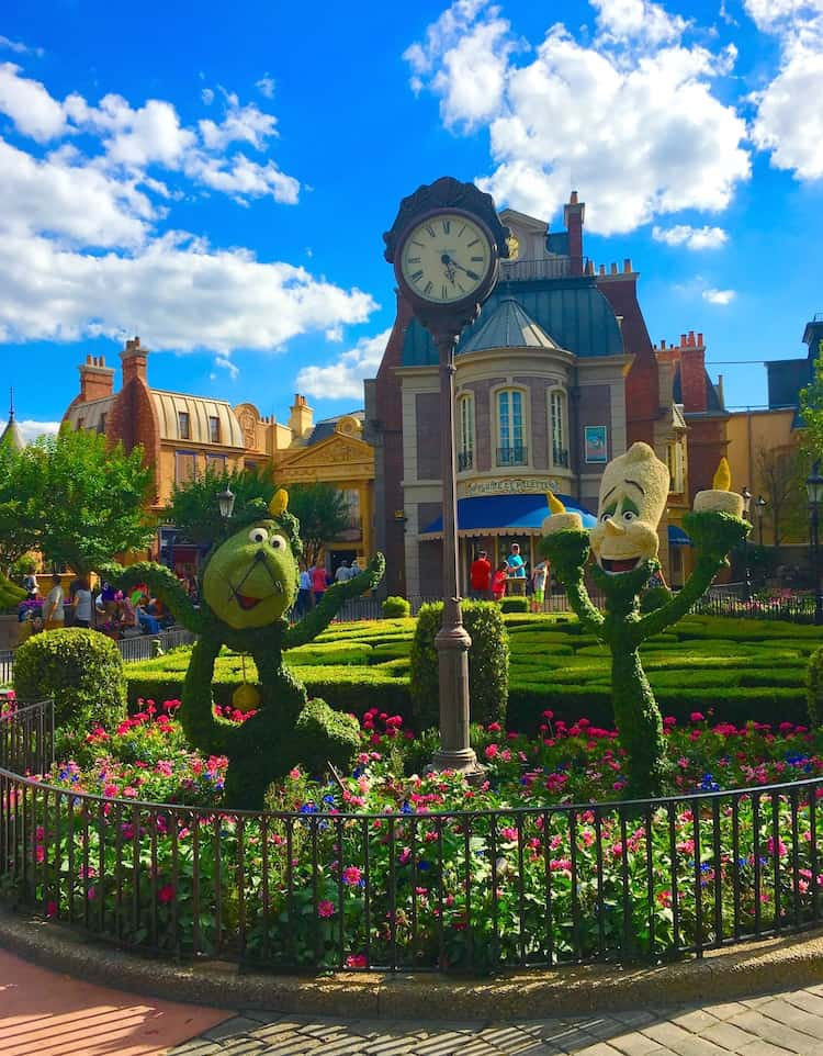 Beauty and the Beast Epcot Flower and Garden Festival with kids
