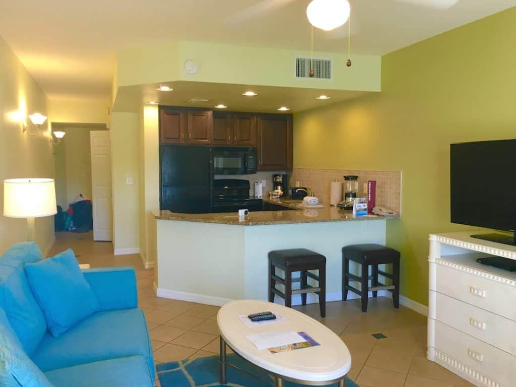 A kitchenette helps families save money and whey I love Mystic Dunes for families.