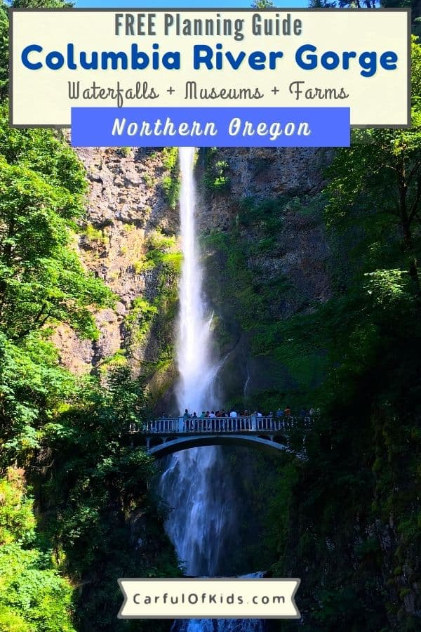 See the best of Oregon at the Columbia River Gorge National Scenic Area. East of Portland, find fruit orchards, Mt. Hood and waterfalls. Use this guide to plan your getaway with museums, farm stands, lavender fiedls and more. What to do in Oregon | National Parks sites in Oregon | Waterfalls in Oregon | Day trips from Portland #ColumbiaRiver #Oregon