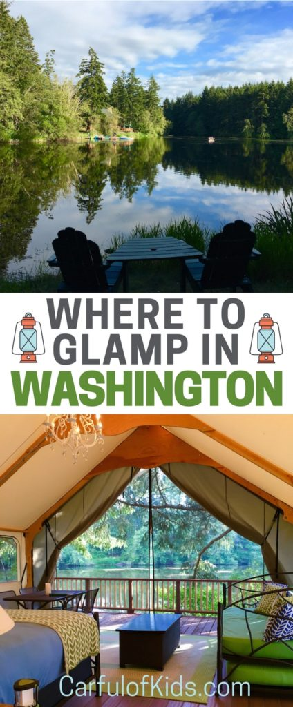 The kids want to go camping but Mom doesn't want to sleep on the cold, hard ground in a STICKY tent. Find a canvas cottage with a chandelier in Washington with a comfy bed to make everyone happy.