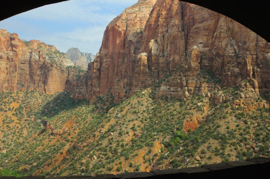 Drive through the Mt Carmel Tunnel when touring Zion National Park with kids.