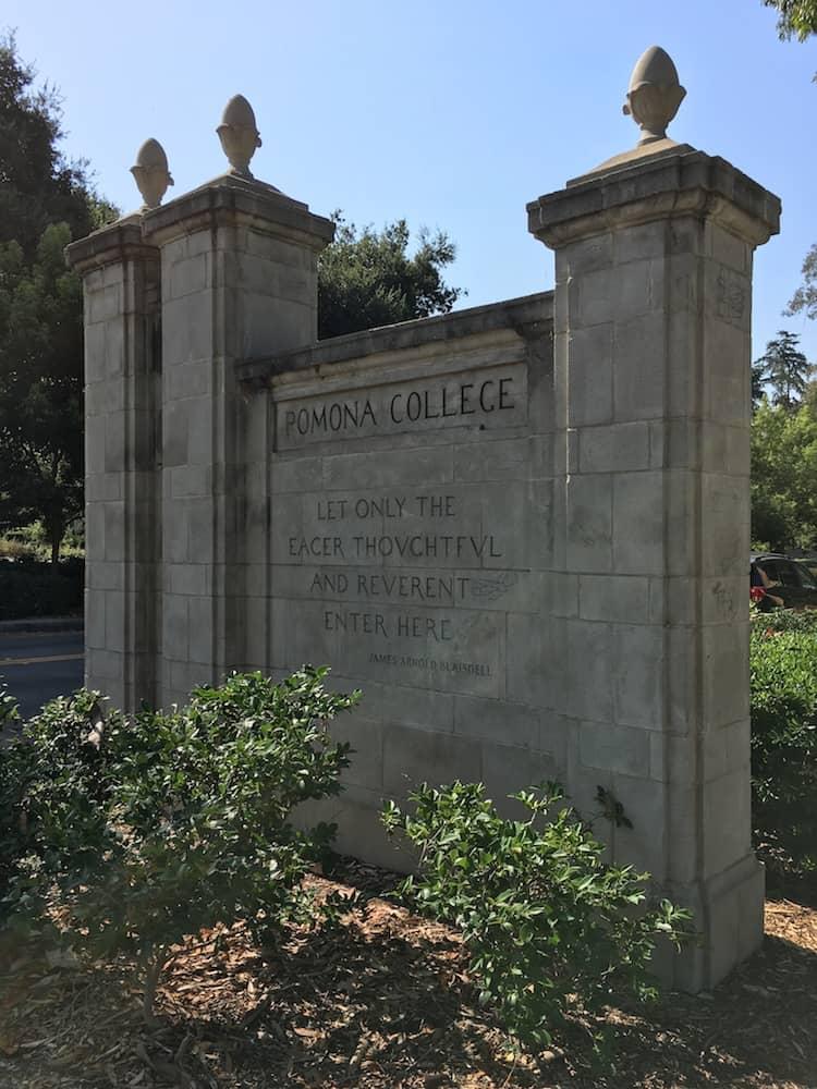 Pomona College Gates. College Shopping in Southern California.