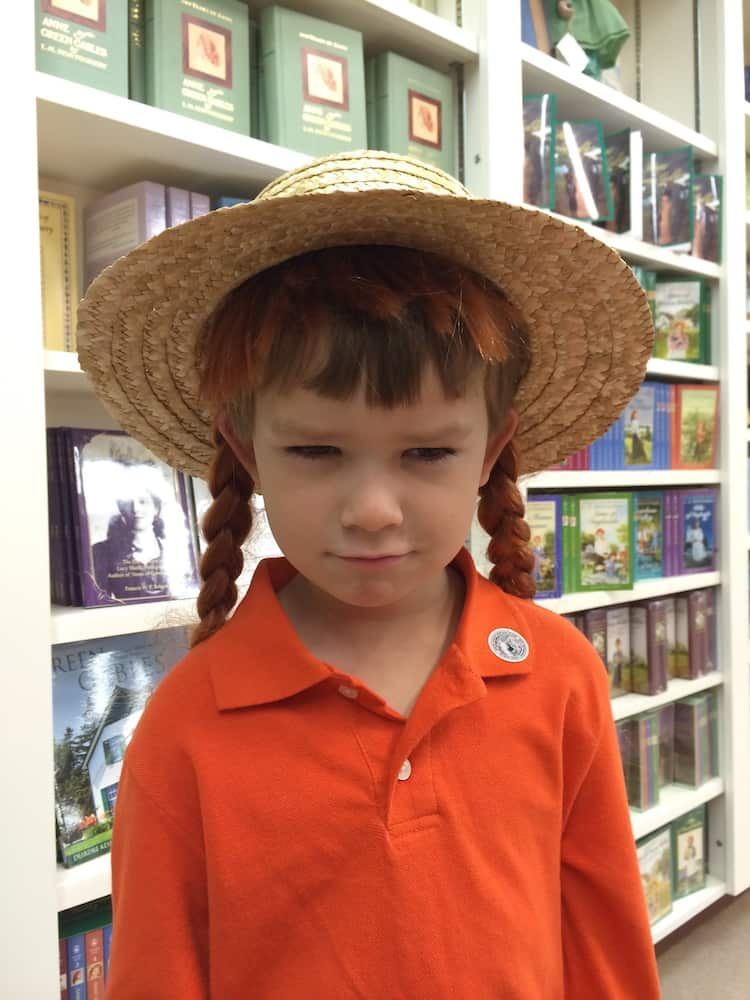 Grab a hat with attached red braids. Anne of Green Gables House with kids.