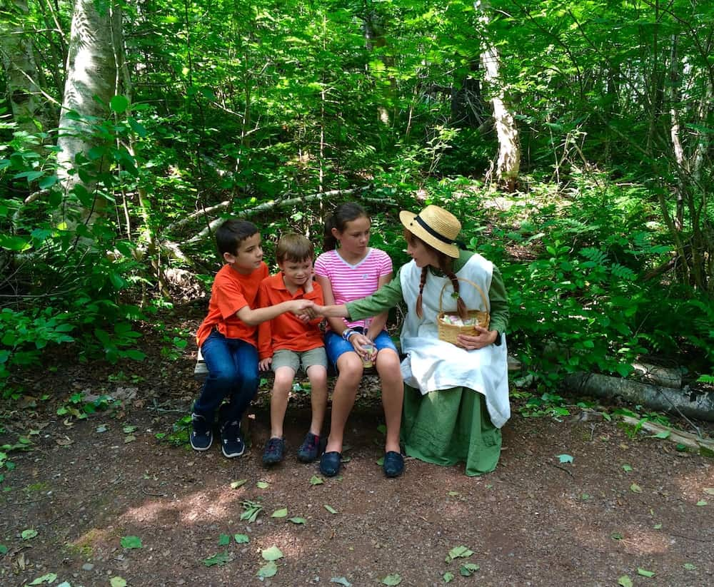 Find Anne in the haunted woods. Anne of Green gables House with kids.
