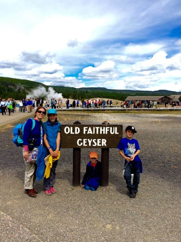 Visit Old Faithful Geyser in Yellowstone. Old Faithful Inn with kids.