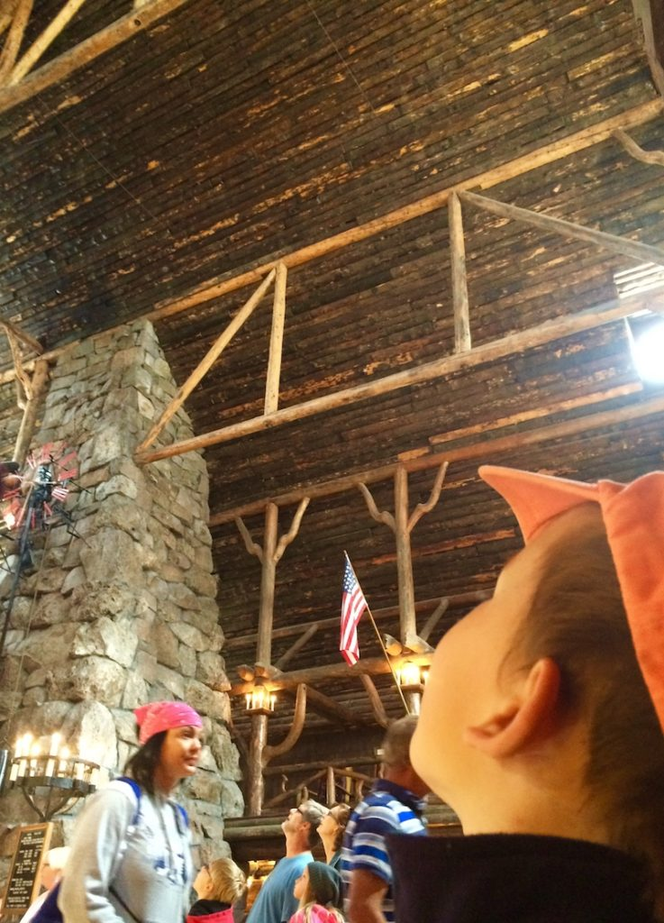 See the towering timbers in Old Faithful Inn. Old Faithful Inn with kids.