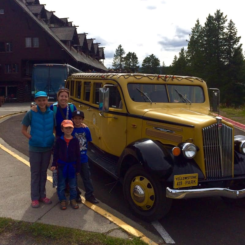 Take a vintage bus tour in Yellowstone National Park. Old Faithful Inn with kids.