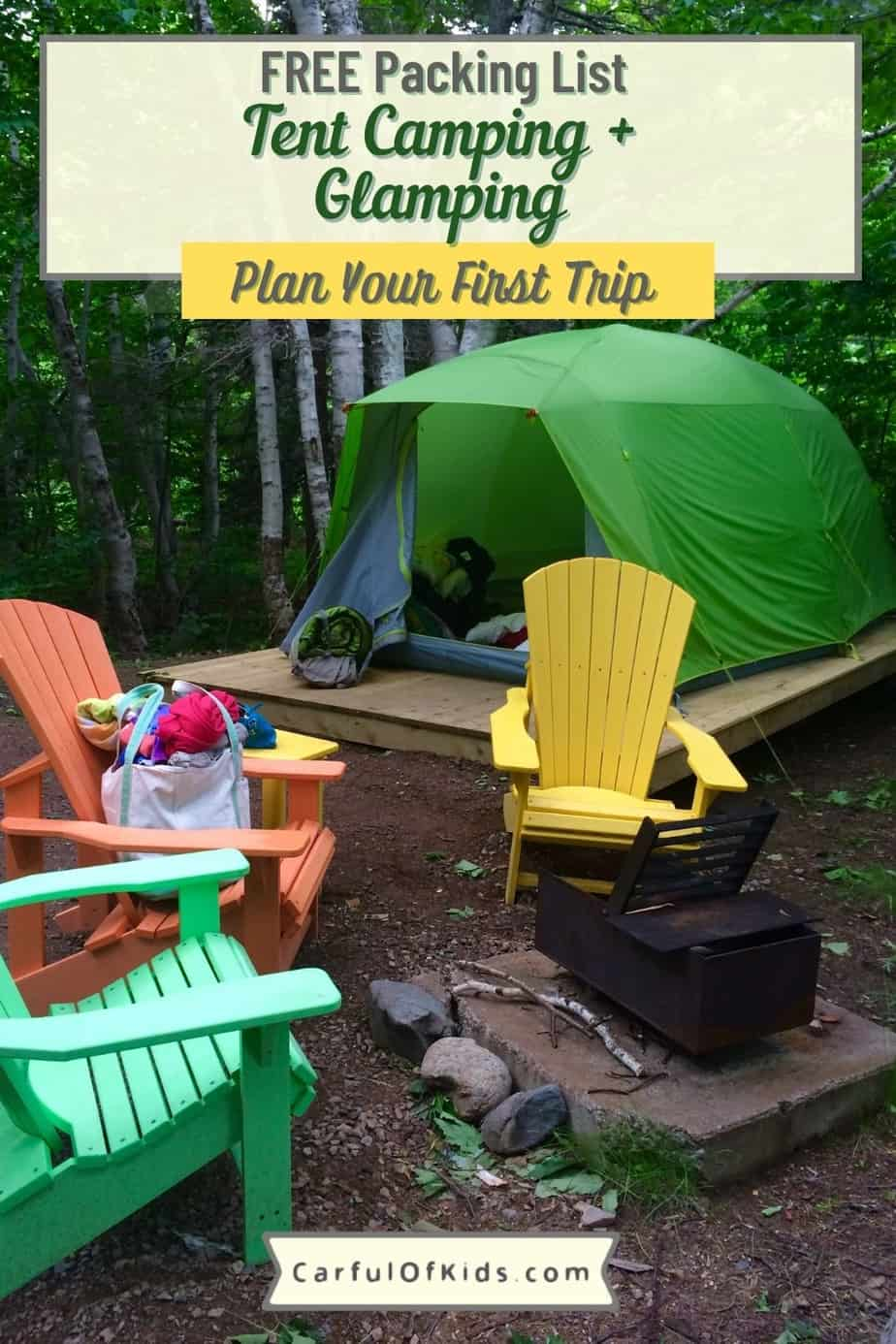 The kids want to go camping. Here's your guide to plan your first camping trip along with a packing list for glamping. What to Pack for a Family Camping Trip | How do you plan your first camping trip | What do you need to cook outdoors #Glamping #Camping #PackingList