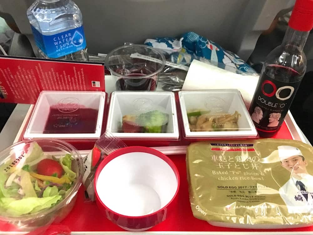 Economy Dinner on JAL. Tokyo Travel Checklist
