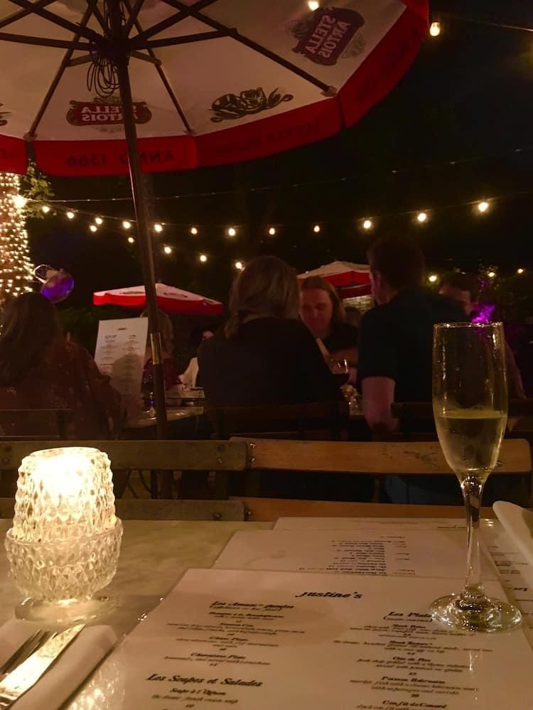 Justine's Brasserie Date night in Austin Texas
