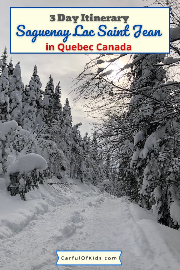 Head to Quebec's Saguenay Lac Saint Jean for a winter escape packed with outdoor adventure. Go dogsledding, snowshoeing and snowmobiling with this 3 day itinerary for Saguenay Lac Saint Jean in Quebec, Canada. Find lodging and dining recommendations too. #QuebecOriginal #Saguenay | What to do in Winter in Quebec